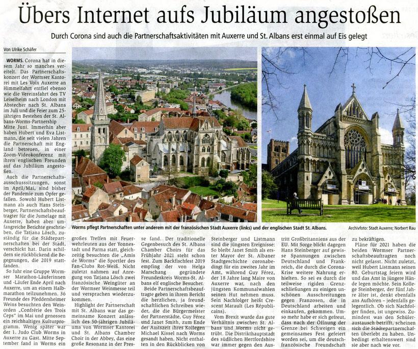 Partnerschaft der Wormser Kantorei mit den Chören in Auxerre und St Albans in Corona-Zeiten