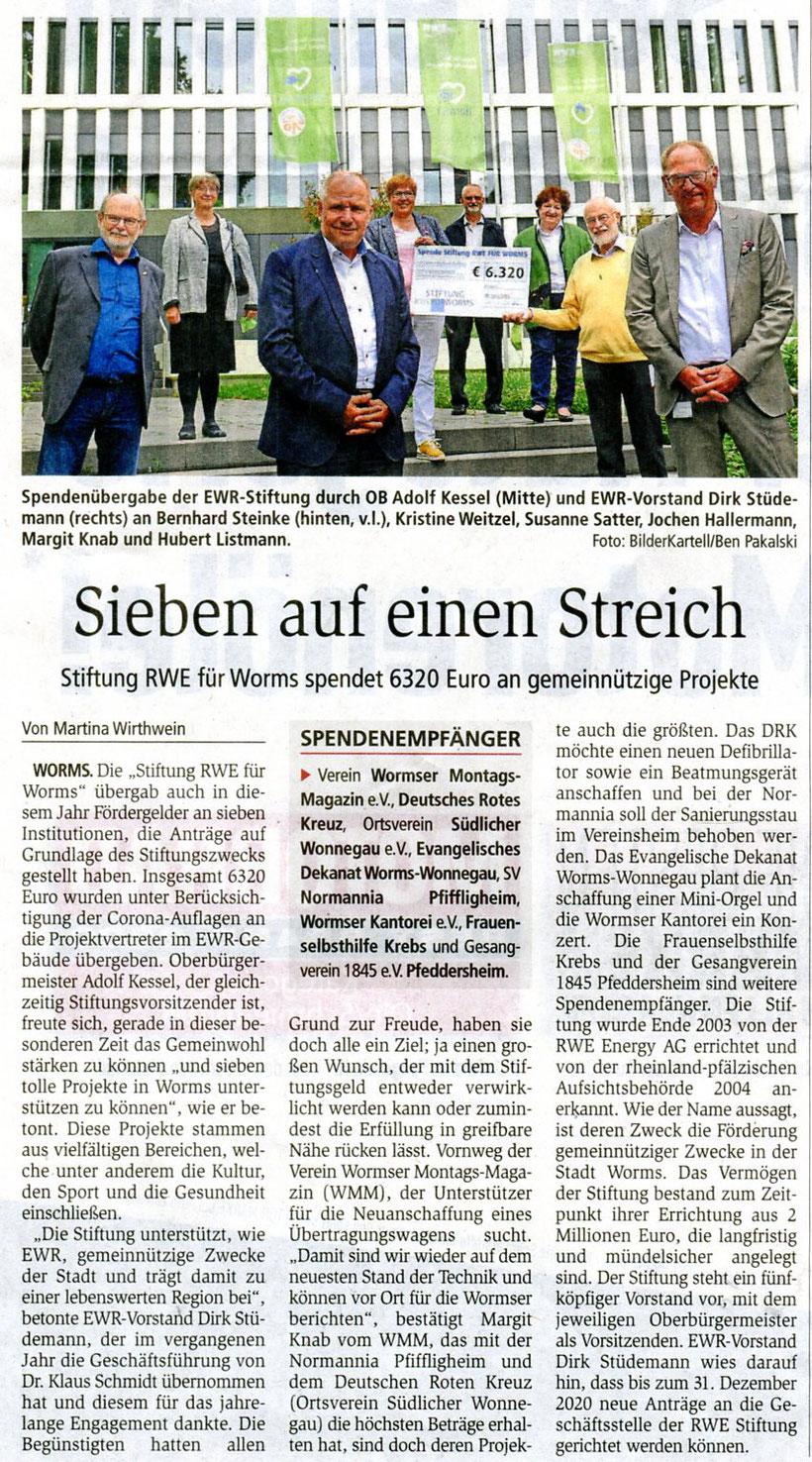 Stiftung RWE für Worms spendete 300 € an Wormser Kantorei.