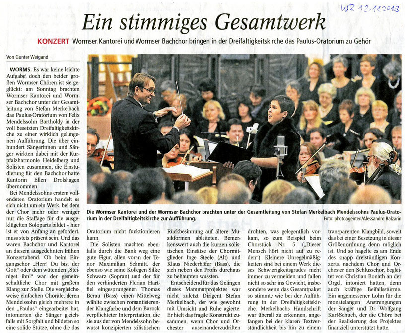 Paulus, Oratorium von Felix Mendelssohn-Bartholdy, Wormser Kantorei, Stefan Merkelbach