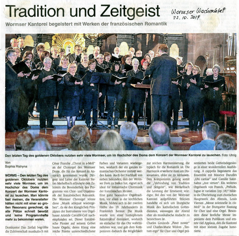 Chor- und Orgelmusik der französischen Romantik - Konzert der Wormser Kantorei im Rahmen der Wormser Domkonzerte