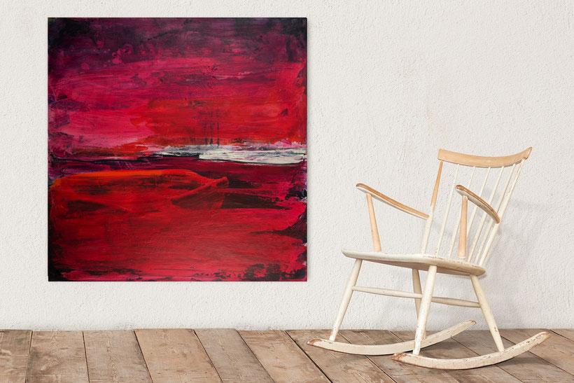 rotes Bild - Liebe - 100 x 100 cm