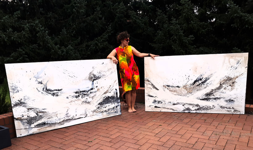 Im April 2020 gemalt - 190 x 115 je - Gedankenlandschaft