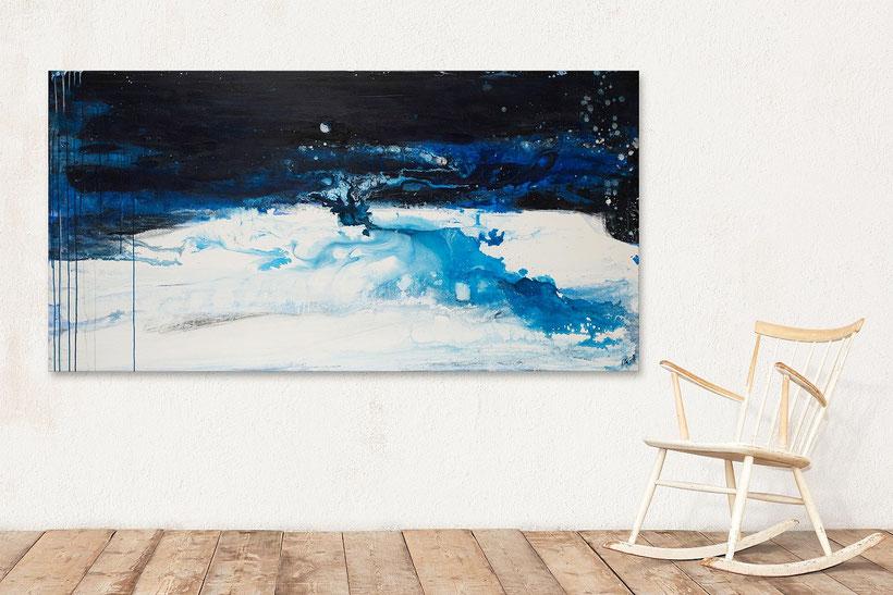 Heute ist Vollmond - blau weisses Bild 200 x 100 cm