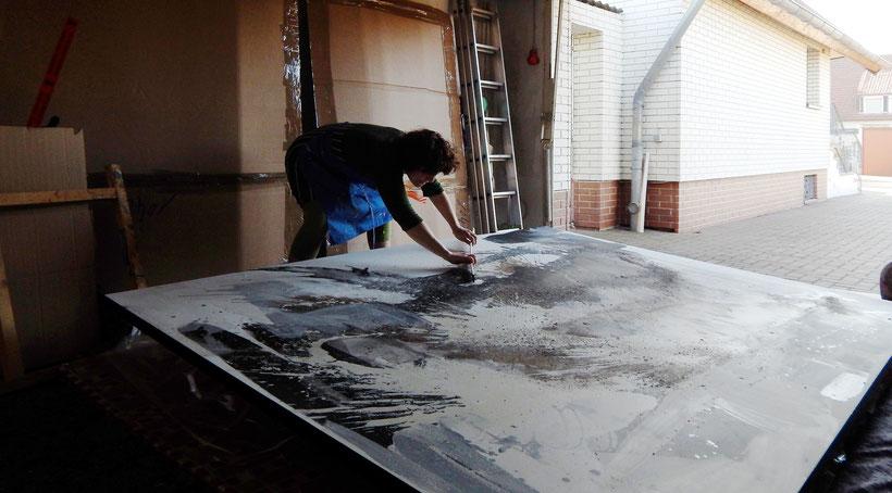 23.02.2019 Bei der Arbeit - Größe des Bildes 270 x 200 cm. Gehört noch zum Auftrag mit den 11 Werken, den ich malen darf