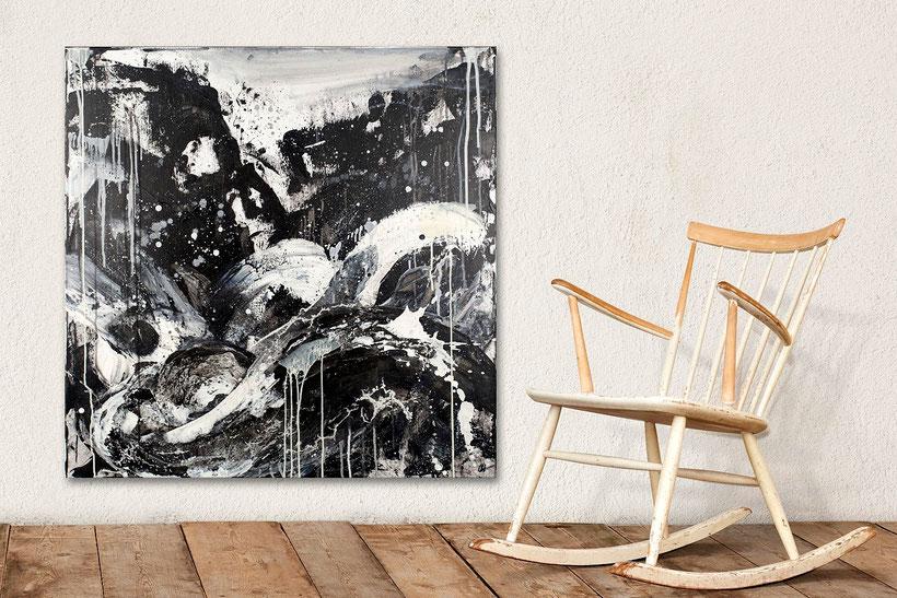 schwarz weisses Bild - Schwung des Lebens - 100 x 100 cm