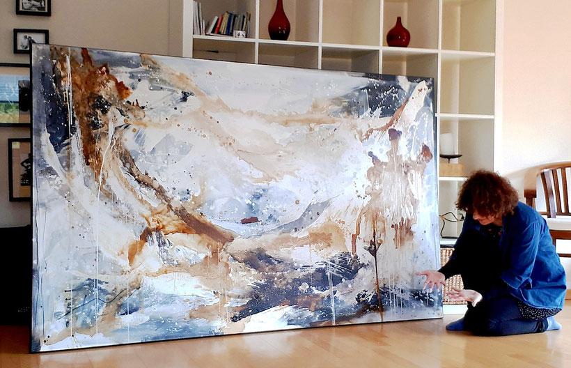Titel: Der Blick zur Freiheit - abstraktes großes Bild - Auftragsarbeit