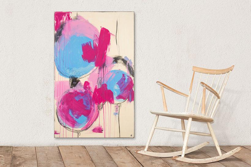 Gedankenfrei wie ein Kind - bild in beige pink und hellblau - 110 x 70 cm