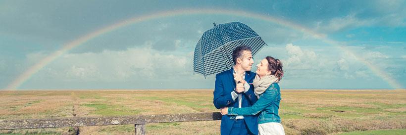 fotograf st. peter-ording, regenbogen, westerhever leuchtturm heiraten, brautpaar, hochzeitsfotograf st. peter-ording