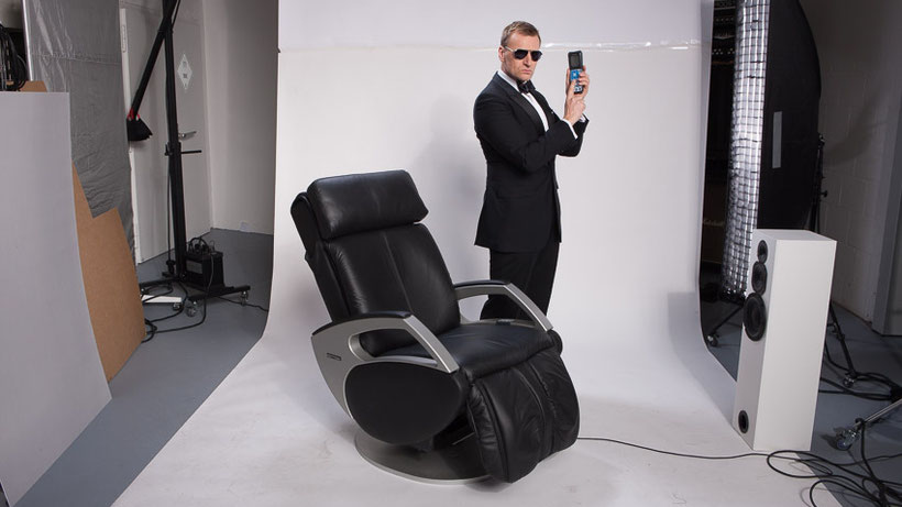 Keyton Dynamic Massagesessel Leder schwarz