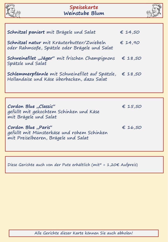 Speisenkarte Weinstube Blum Seite 2 Schnitzel und Cordon bleu