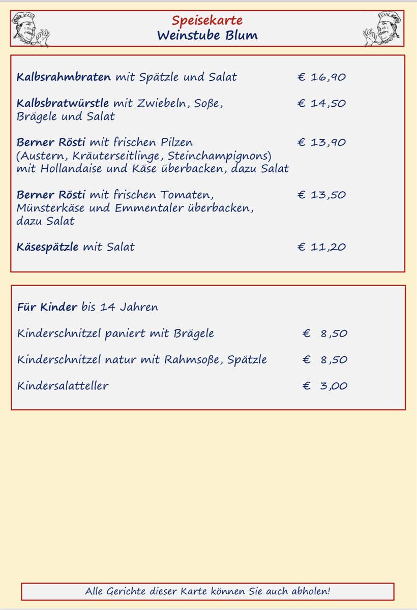 Speisenkarte Weinstube Blum Seite 3 Schweinefilet und Schlemmerpfännle