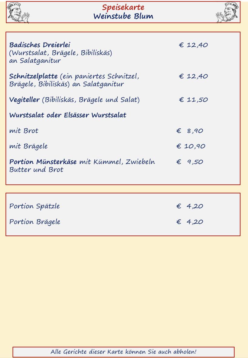 Speisenkarte Weinstube Blum Seite 4 Lammbraten, Kalbsrahmbraten und Kalbsbratwürste