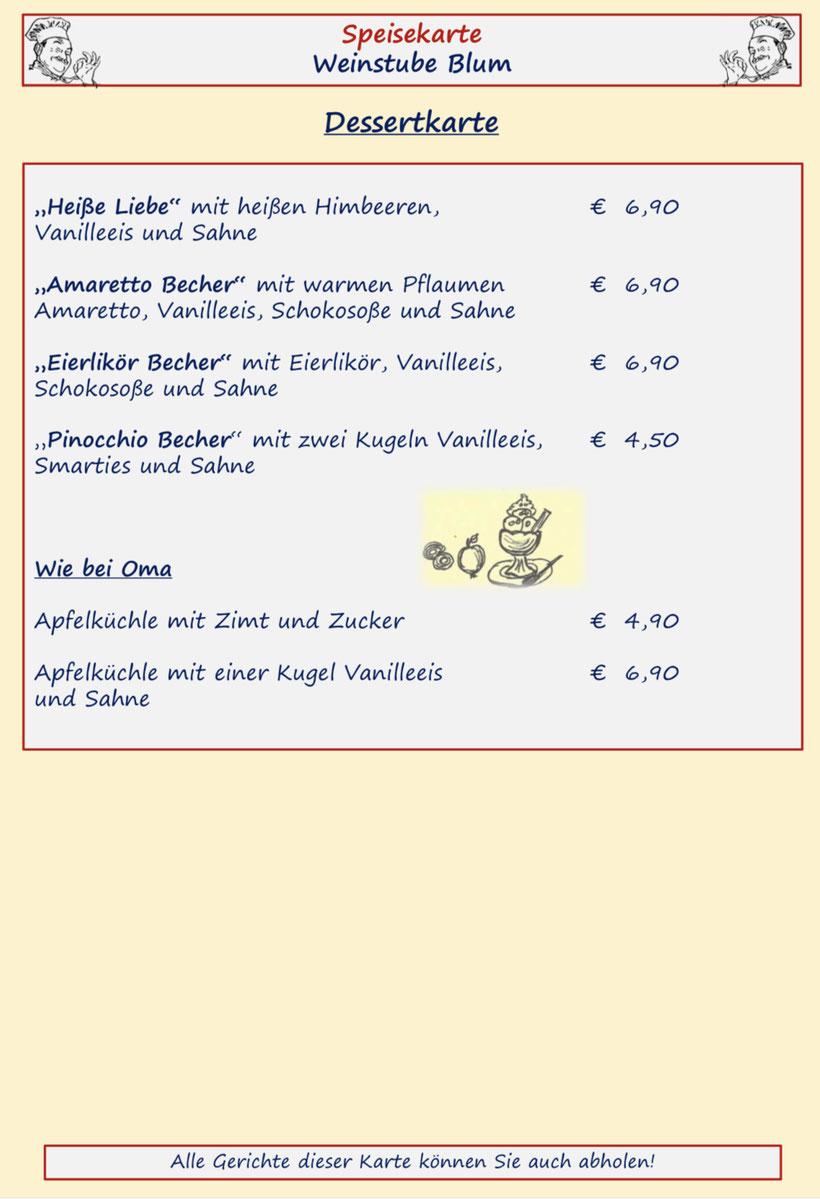 Speisenkarte Weinstube Blum Seite 5 Berner-Rösti Gerichte und Käsespätzle