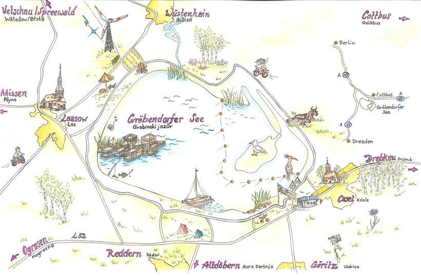 Kartografie Gräbendorfer See - Handzeichnung/Aquarell von Wenke Richter WR Kreativmalerei - mit Erlaubnis veröffentlicht