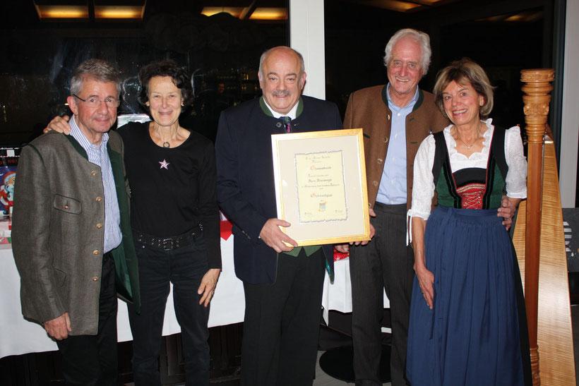 Ehrungen für besondere Verdienste um den CAS erhielten Monika und Dr. Peter Strnad, Berni Rosenberger sowie Christl und Franz Gensthaler