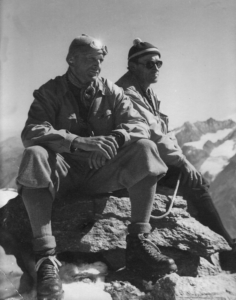 Zermatt 1952, unser Mitglied Ludwig Steinauer (geb. 03.11.1903; gest. 17.06.1971) mit Willi Friedrich (links) aus Berlin, Quelle: David Herion aus dem Nachlass Willi Friedrich, Berlin