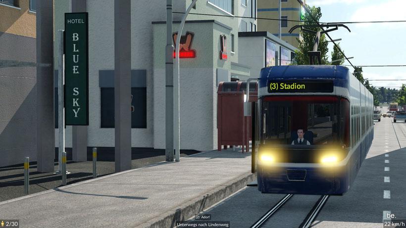 Je nach Fahrzeugtyp werden die Linie und die nächste Haltestelle am Fahrzeug angezeigt