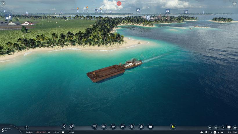 Schiffe bilden Bug- und Heckwellen