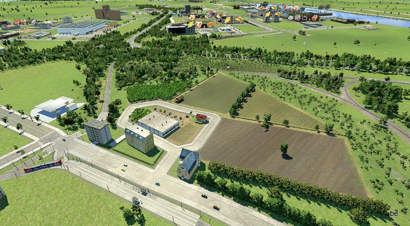 Blick von der Neusser Straße zum Niehler Ei und den Ford-Werken