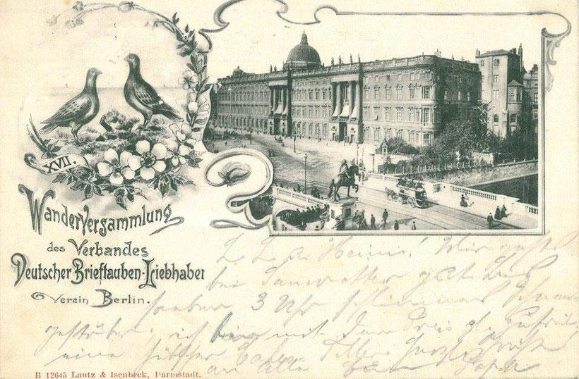 Postkarte von der Wanderversammlung des Verbandes dt. Brieftauben-Liebhaber-Vereine im Jahr 1901, auf der die Einführung von einheitlichen, geschlossenen Fußringen beschlossen wurde