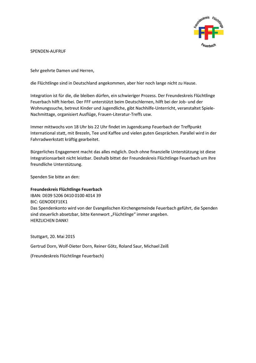 Spendenaufruf - Freundeskreis Flüchtlinge Feuerbach