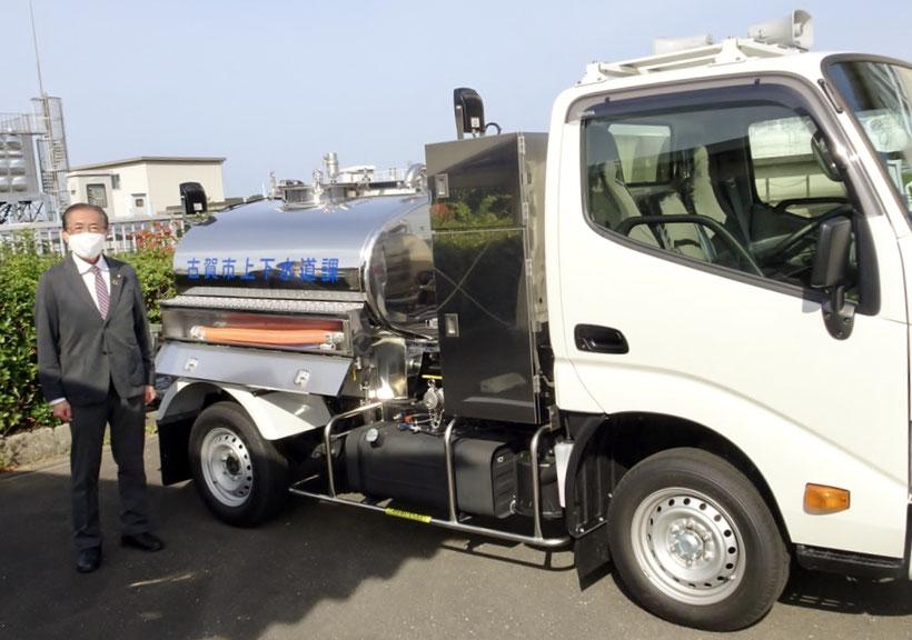 自動車は2トン車で普通免許で運転可能。タンクは1.1トンの水が入ります。