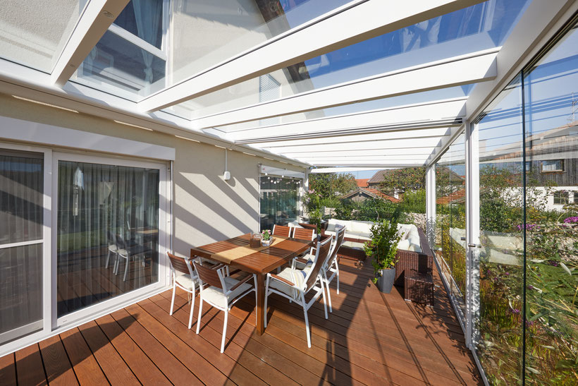 Terrassenüberdachung aus Alu mit Glas in Vilsbiburg