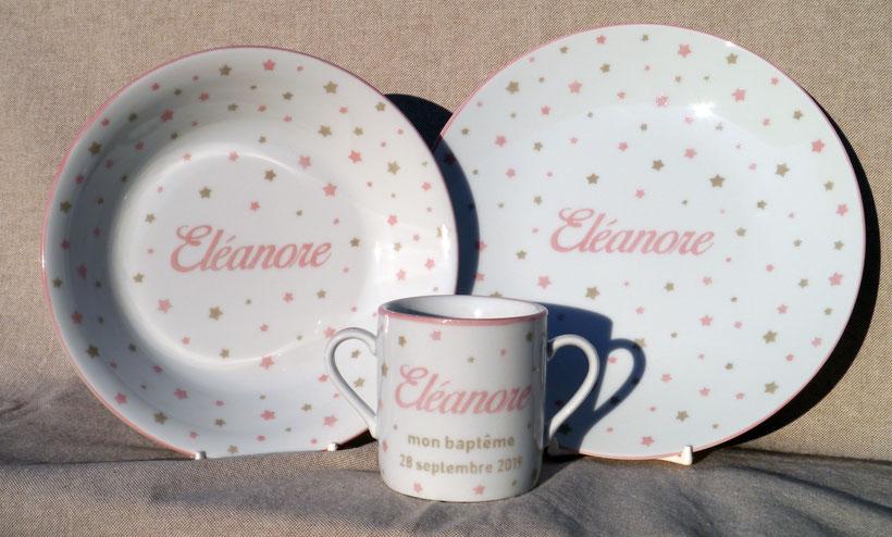 Vaisselle personnalisée pour enfant en porcelaine
