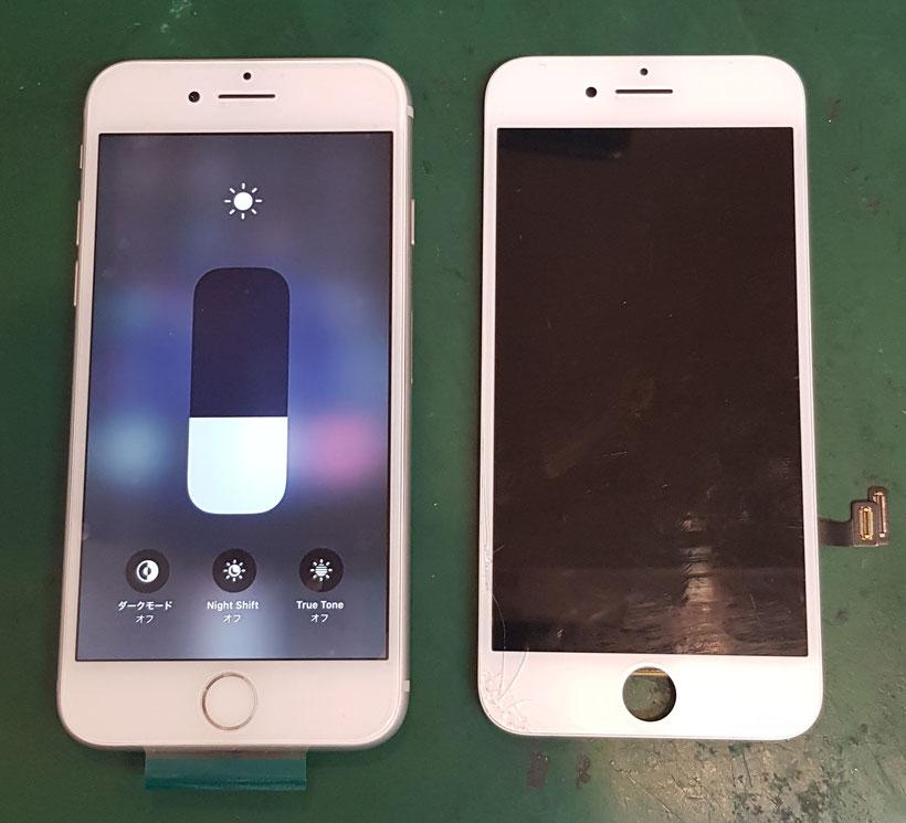 iPhone8画面修理仕上りと割れたパネル