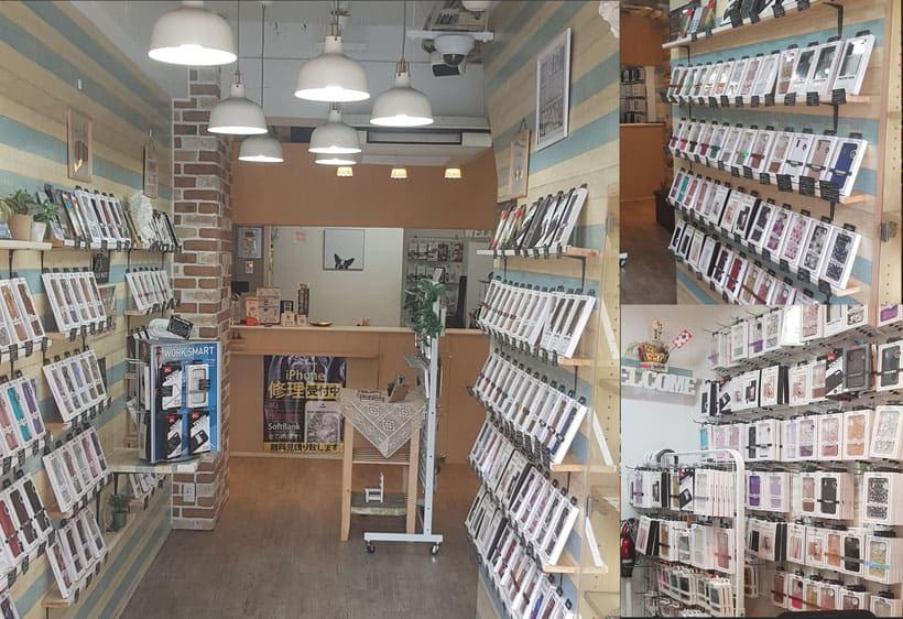 明るい店内写真にiPhone種類ごとのケースレイアウト