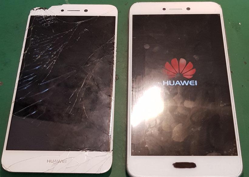 Huawei P10lite画面修理後の動作確認と割れた画面