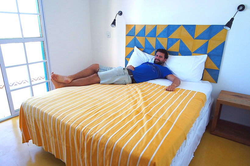 Our colorful room at Aquarela do Leme