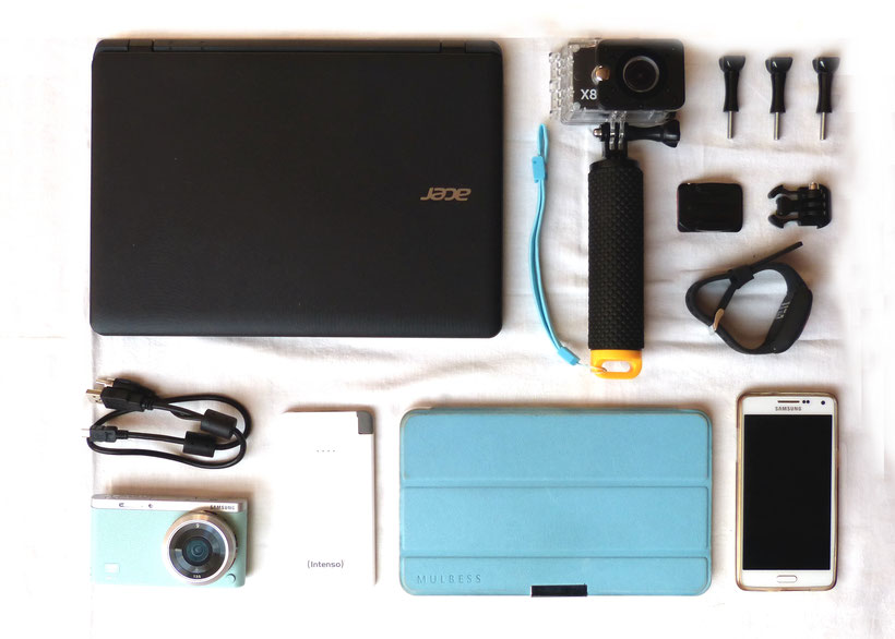 Flatlay of electronical essentials