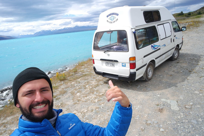 Max at Lake Pukaki and our camper