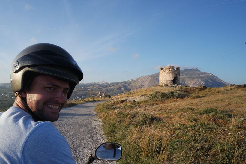 Max driving a quad on Santorini