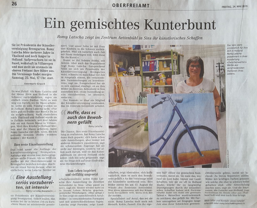 Artikel im Bremgarter Bezirks-Anzeiger (BBA) 24. Mai 2019