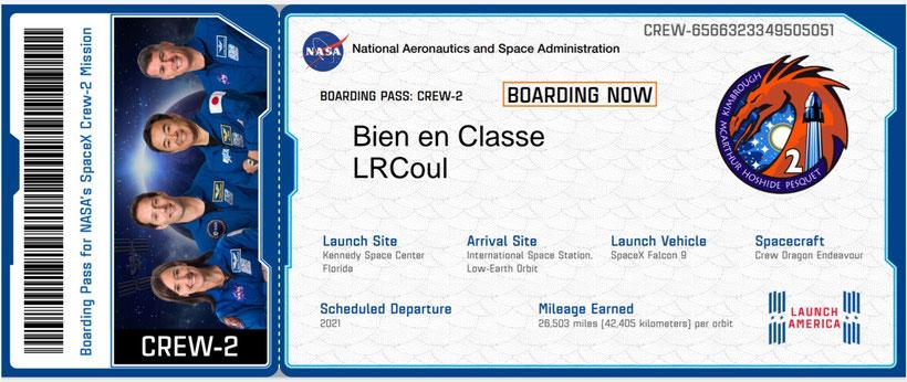embarquement crew2 Mission Alpha Thomas Pesquet Mission X Marche vers la Lune sciences astronomie expériences école classe cycle 3 collège lycée