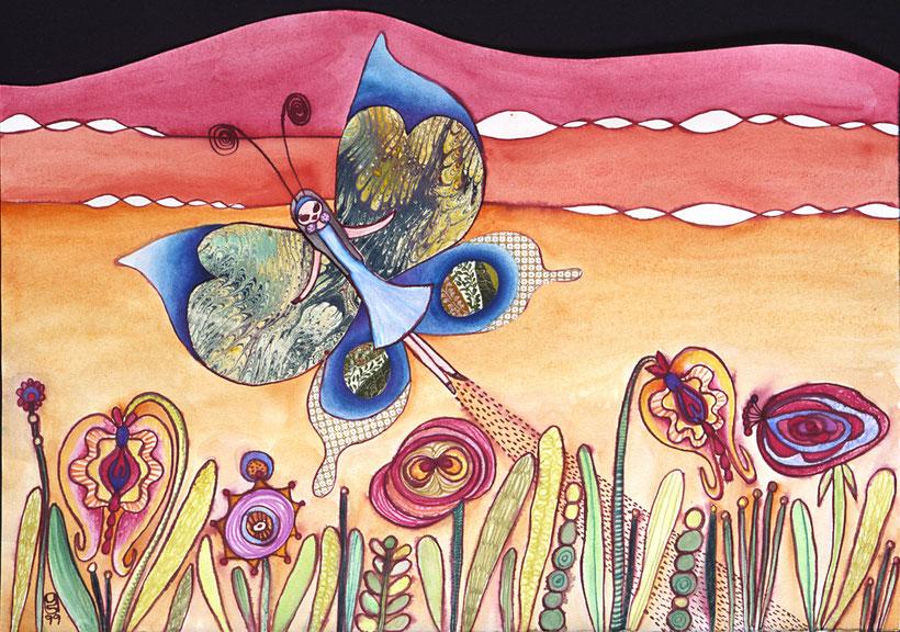 """""""こどものころ Childhood """" 1999 watercolor, ink and collage on paper"""