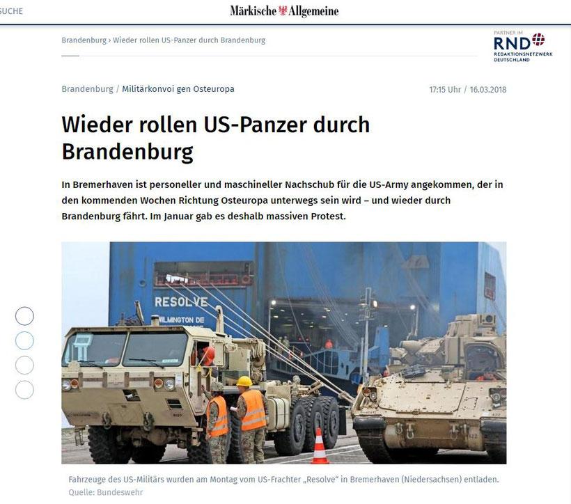 16.03.2018 - MAZ: Wieder rollen US-Panzer durch Brandenburg