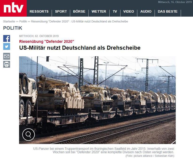 """02.10.2019 - ntv: Riesenübung """"Defender 2020"""" US-Militär nutzt Deutschland als Drehscheibe"""