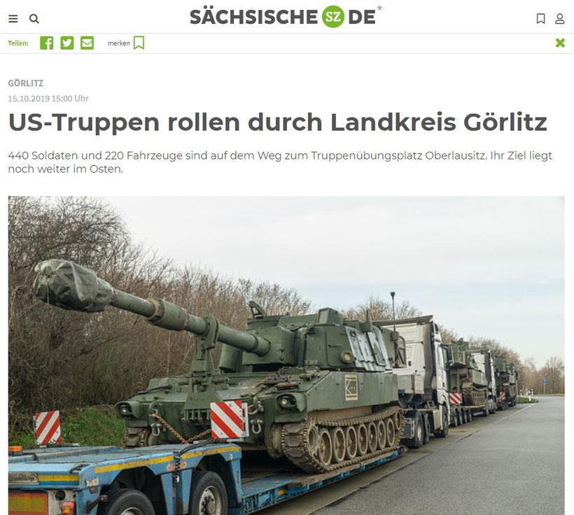 15.10.2019 - Sächsische: US-Truppen rollen durch Landkreis Görlitz