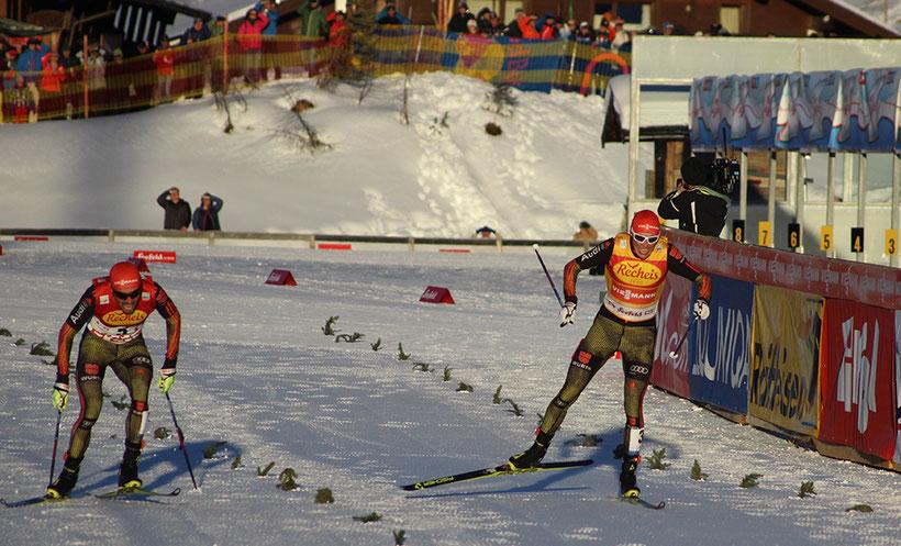 Fotofinish zwischen Eric Frenzel und Johannes Rydzek beim Nordic Combined Triple in Seefeld 2017