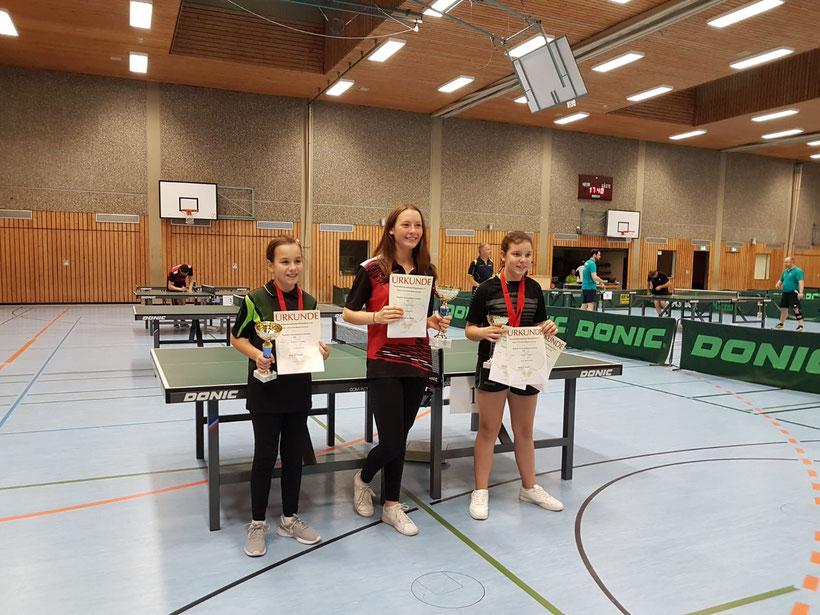 v.l.n.r.: Celine Königs (3. Platz B-Schülerinnen), Marisa Schürer (1. Platz Mädchen) und Lamija Sehic (2. Platz B-Schülerinnen)