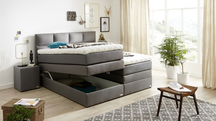 boxspringbett mit bettkasten und stauraum kaufen boxspringbetten. Black Bedroom Furniture Sets. Home Design Ideas
