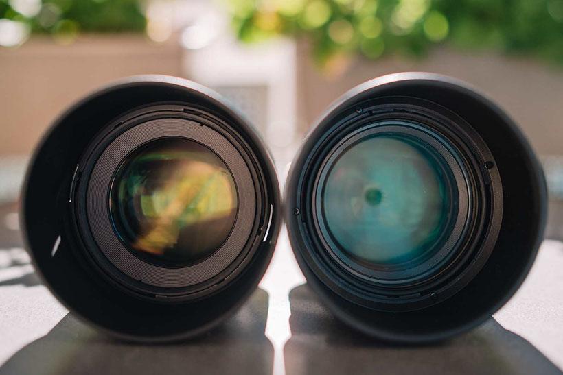 Samyang AF 85mm 1.4 FE vs. Sony 85mm 1.4 GM, Frontansicht