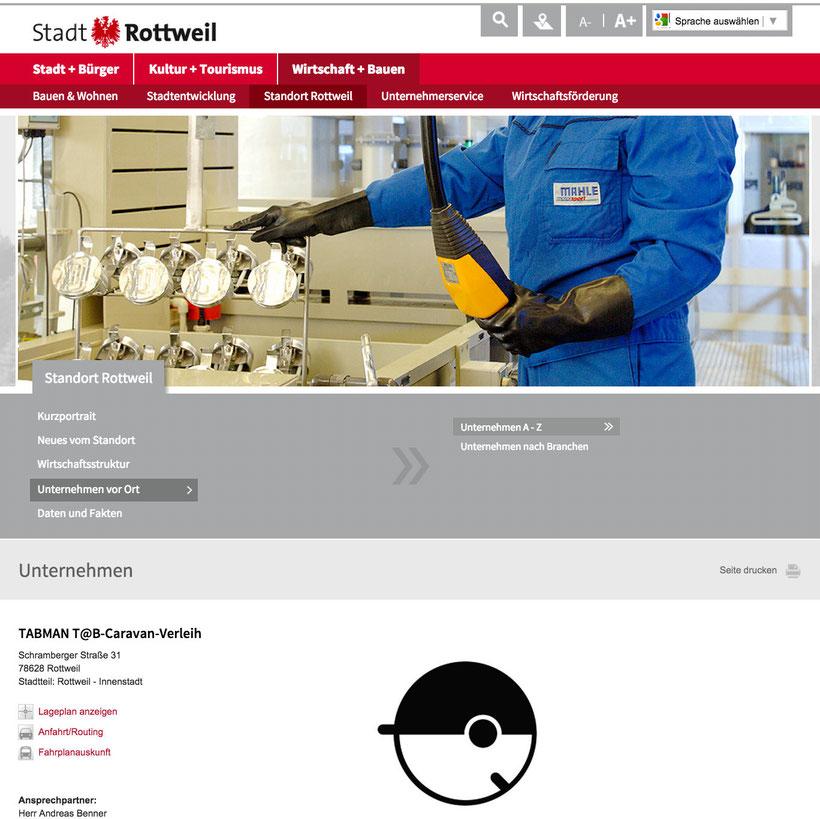 TABMAN ist jetzt offizielles Unternehmen der Stadt Rottweil - ©TABMAN