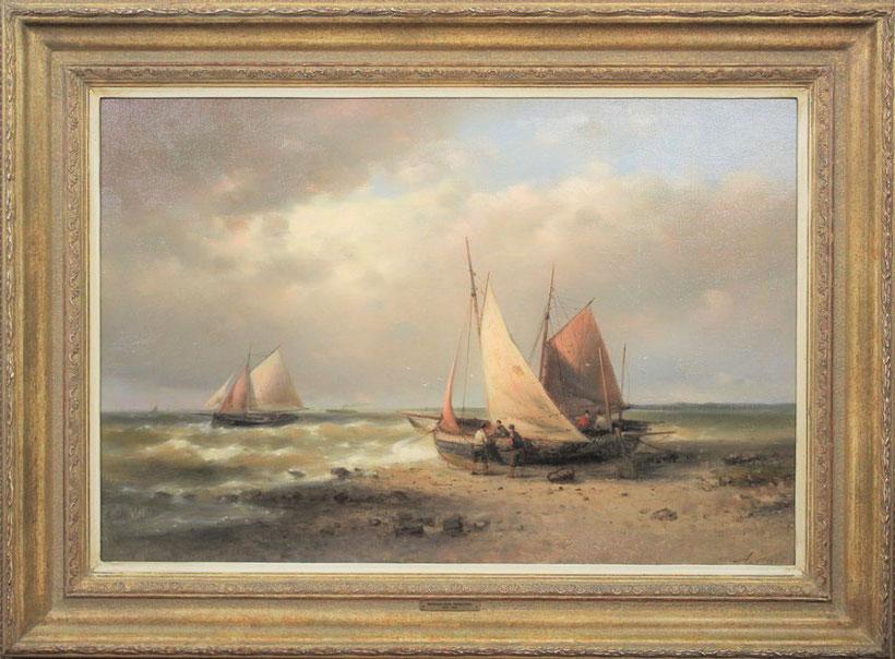 te_koop_aangeboden_een_strand_en_zee_gezicht_van_de_kunstschilder_abraham_hulk_1813-1897