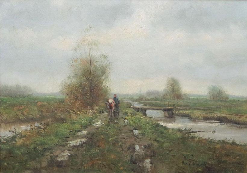 te_koop_aangeboden_een_landschaps_schilderij_met_boer_en_koe_van_de_nederlandse_kunstschilder_henk_roosink_1960_post_impressionisme