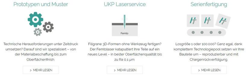 """Die drei Leistungsbereiche von HAIL-TEC """"Prototypen und Muster"""", """"UKP Laserservice"""" und """"Serienfertigung"""" als Auswahl mit passender Grafik und Untertitel"""