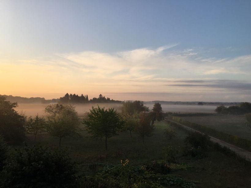 Gut Falkenhain in der Morgendämmerung.